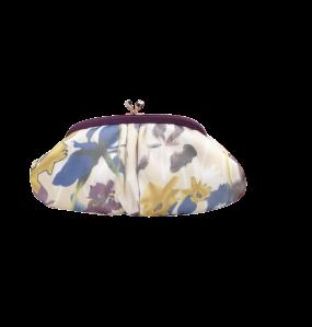 Olga Berg Purple Floral Printed Organza Clutch