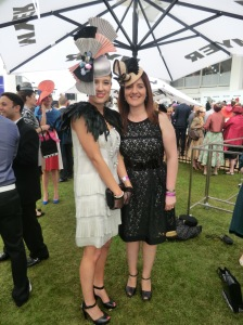Marilena Romeo & her model wearing Marilena Romeo hat at 2011 Oaks Day