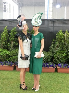 Marilena Romeo and Liza Georgia Millinery models at 2011 Oaks Day