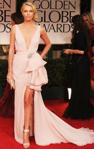 Charlize Theron in Christian Dior Haute Couture at the 2012 Golden Globes