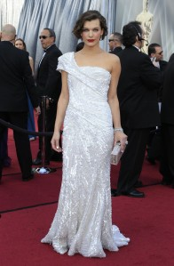 Milla Jovovich 2012 Oscars in Elie Saab Haute Couture