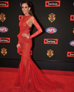 Rebecca Judd at the 2013 Brownlow Medal in J'Aton Couture