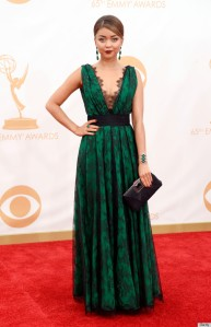 Sarah Hyland at the 2013 Emmy Awards in Carolina Herrera
