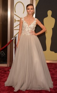 Giuliana Rancic at the 2014 Oscars in Paolo Sebastian
