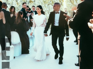 Kim Kardashian marries Kanye West (2014) in custom Givenchy Haute Couture lace gown in Florence, Italy