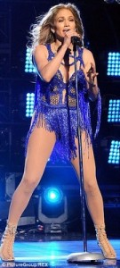 Jennifer Lopez in a sparkly blue custom-made Charbel Zoe Couture leotard during her performance at the American Idol Finale in 2014