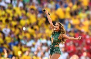 Jennifer Lopez in a sparkly green custom-made Charbel Zoe Couture leotard during her performance at the 2014 World Cup Opening Ceremony