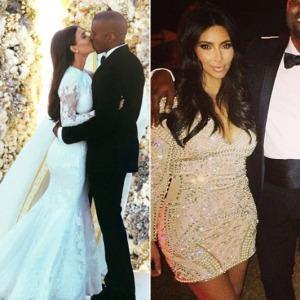 Kim Kardashian in custom-made Balmain  at her wedding reception in 2014