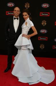 Rebecca Judd in J'Aton Couture at the 2014 Brownlow Medal Red Carpet