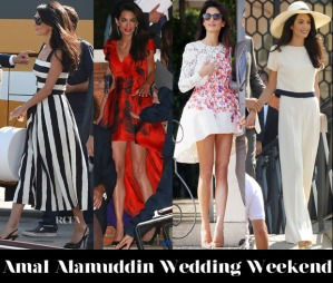 Amal Alamuddin's fashion during her wedding weekend