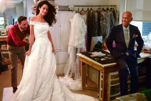 Amal Alamuddin in her custom-made Oscar de la Renta wedding gown
