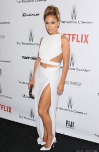 Jennifer Lopez at the 2015 Golden Globes After-Party wearing Amanda Wakeley