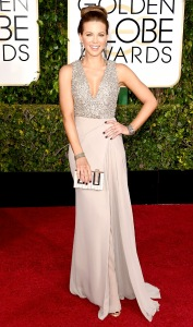 Kate Beckinsale at the 2015 Golden Globes in Elie Saab Haute Couture