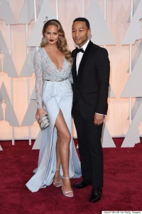 Chrissy Teigen wearing Zuhair Murad Couture at the 2015 Oscars