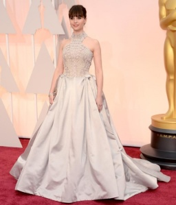 Felicity Jones wearing Alexander McQueen at the 2015 Oscars