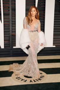 Jennifer Lopez wearing Zuhair Murad Couture at the 2015 Vanity Fair Oscar Party