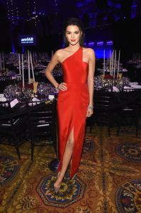 Kendall Jenner looking stunning in a Red Romona Keveza Gown at the 2015 amfAR New York Gala