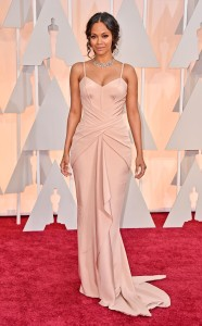 Zoe Saldana wearing Atelier Versace at the 2015 Oscars