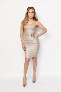 Jennifer Lopez in a House of CB nude leather bustier dress on American Idol Live Show, March 25, 2015