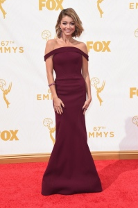 Sarah Hyland at the 2015 Emmys in Zac Posen