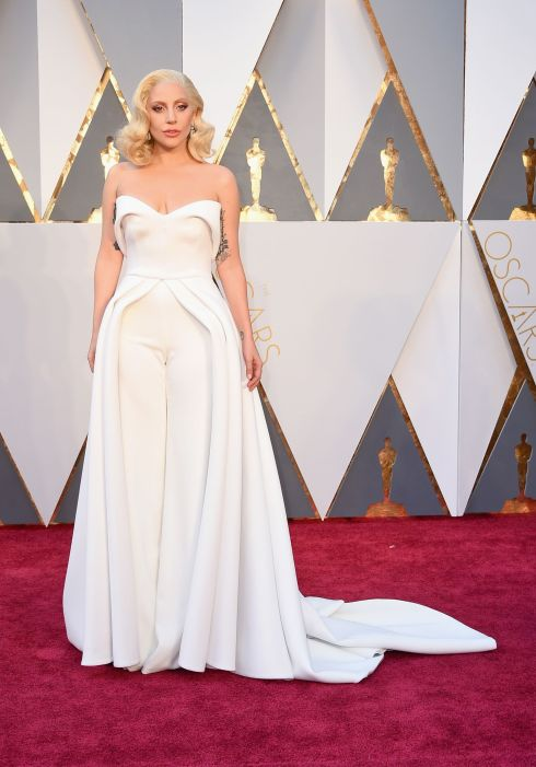 Lady Gaga wearing Brandon Maxwell at the 2016 Oscars